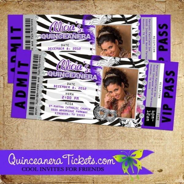 Quinceanera Movie Ticket Invitations
