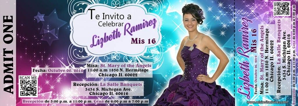 Quinceanera Ticket Invitations