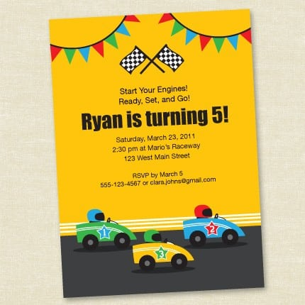 Racing Car Birthday Invitation Free Printable