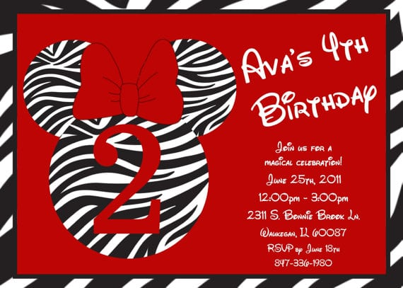 Red Zebra Minnie Invitations
