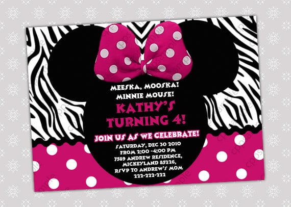 Red Zebra Minnie Mouse Invitations