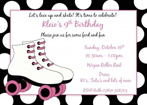 Roller Skating Birthday Invitations Free Printable
