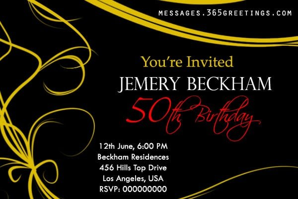 Sample 50th Birthday Party Invitations