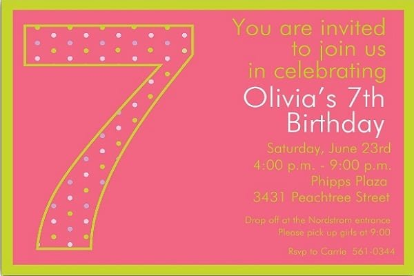 Sample 7th Birthday Invitation Templates