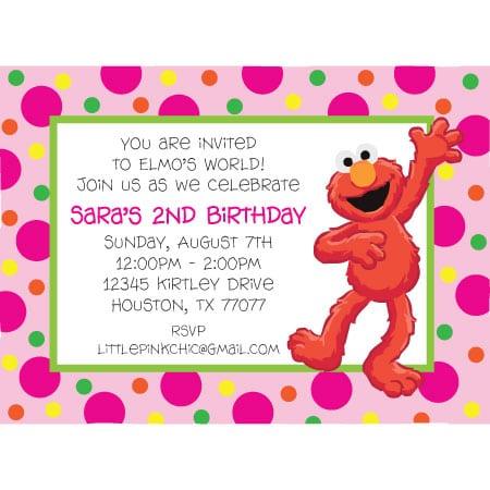 Sample Birthday Invitation Elmo