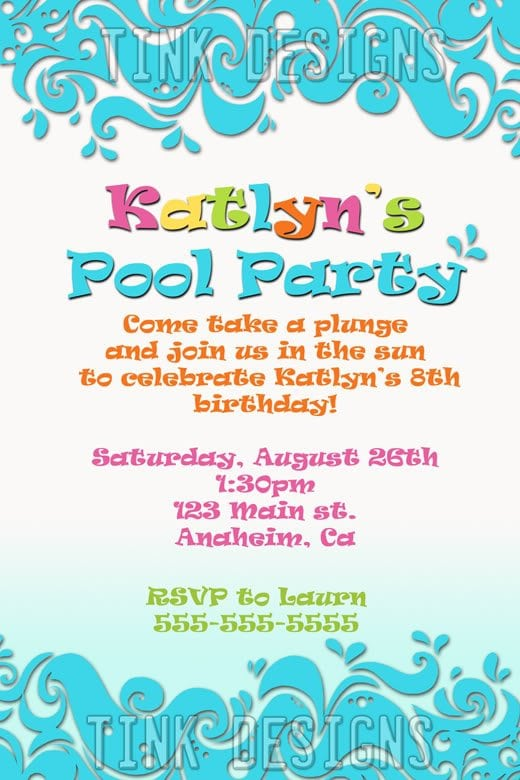 Sample Birthday Invitations For Pool Party