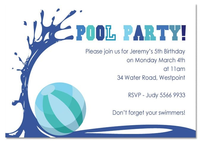 Sample Birthday Pool Party Invitations