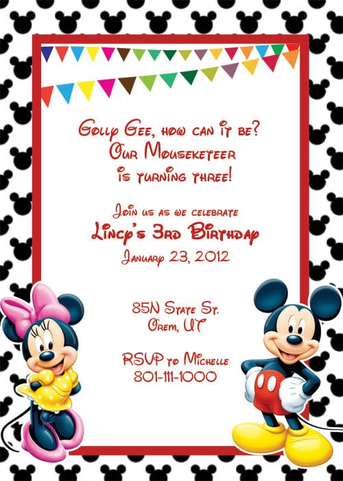 Sample Invitation Of Mickey Mouse