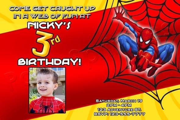 Sample Spiderman Invitations