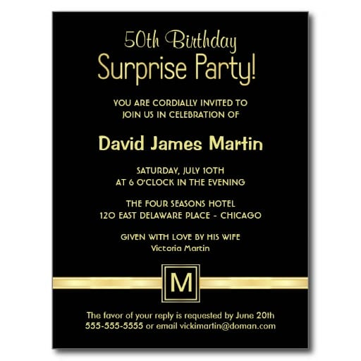 Sample 50th birthday invitation sample surprise 50th birthday invitations filmwisefo