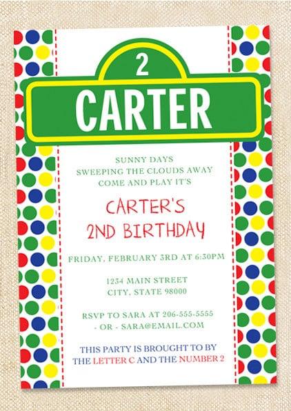 Sesame Street Invitations Etsy