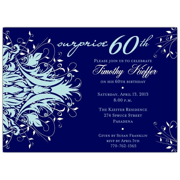 Sixtieth Birthday Invitations Blue