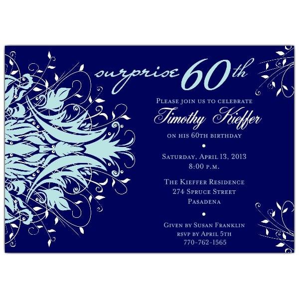 Sixtieth Birthday Invitations Blue