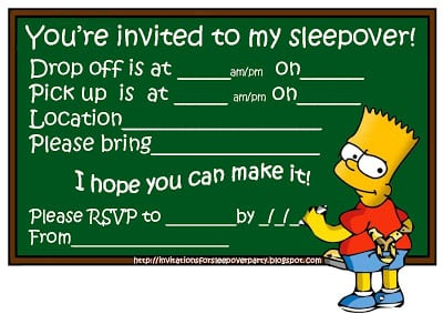 Sleepover Invitation Kids Free