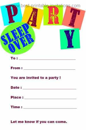 Sleepover Invitation Templates