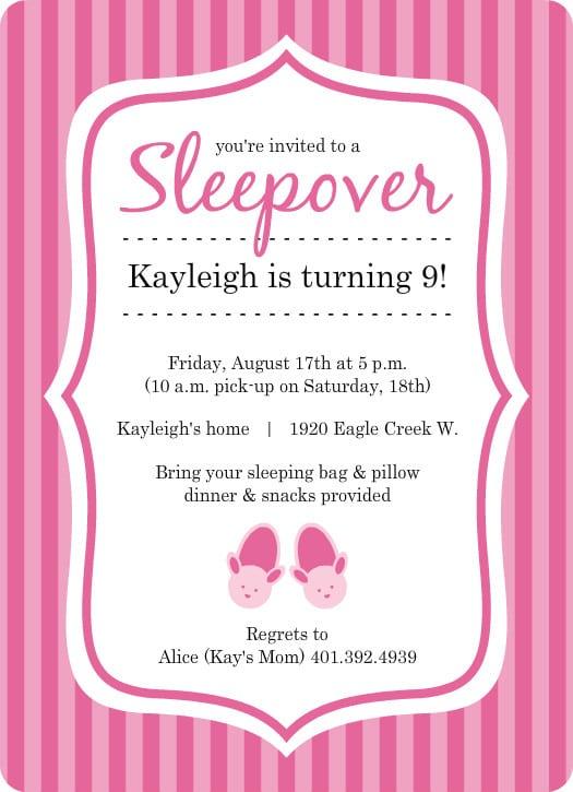Sleepover Invitations Pink