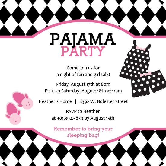 Pyjama Party Invites for best invitations example