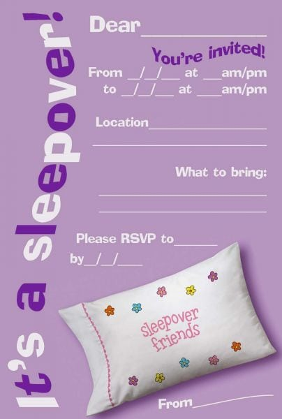 Sleepover Party Invites Printable