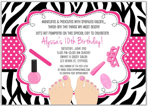 Spa Birthday Invitations For Girls