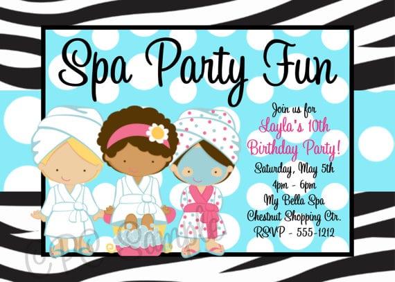 Spa Birthday Party Invitations Free Printable