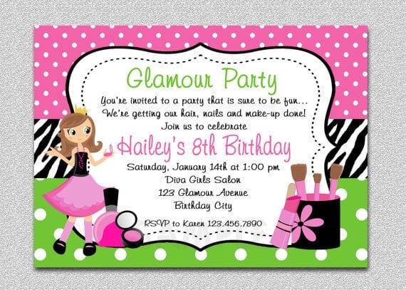 Spa Birthday Party Invitations Printable