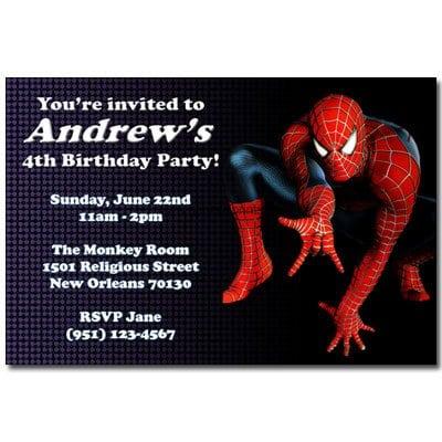 Spiderman Birthday Invites Printable Free