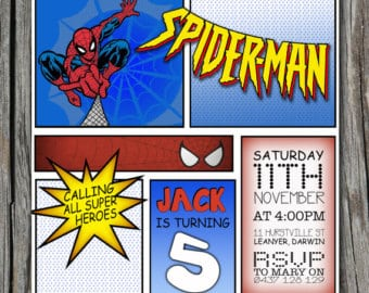 Spiderman Comic Birthday Invite