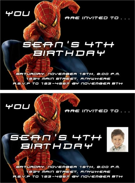 spiderman invitation templates