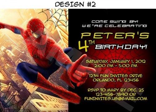 Spiderman Invitations Printable