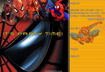 Spiderman Invitations Printable Free