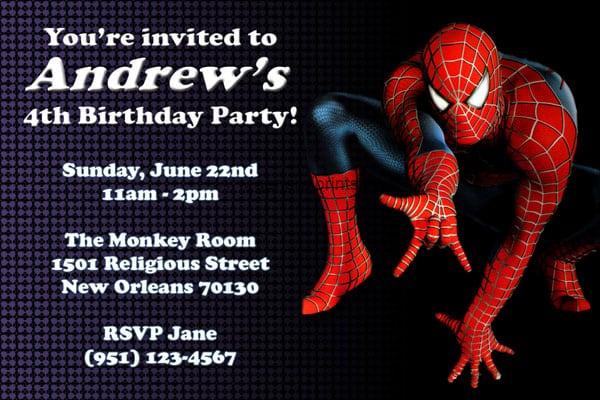 Spiderman Invitations Printables