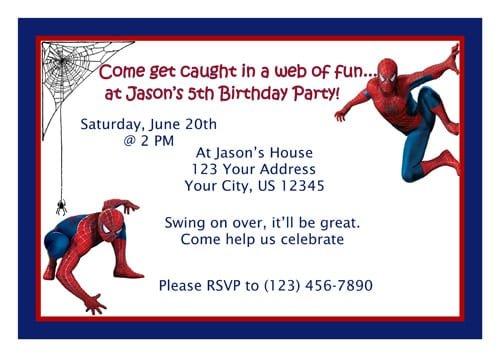 Spiderman Invites Printable Free