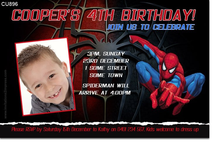 Spiderman Template Invitations