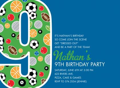Sports birthday invitations filmwisefo Image collections