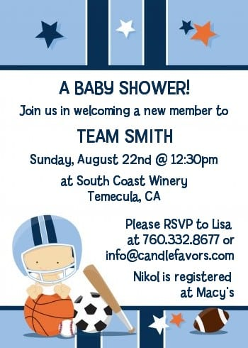 Sports Invitations For Baby Shower