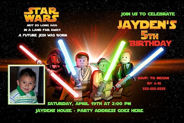 Star Wars Lego Invitations Free