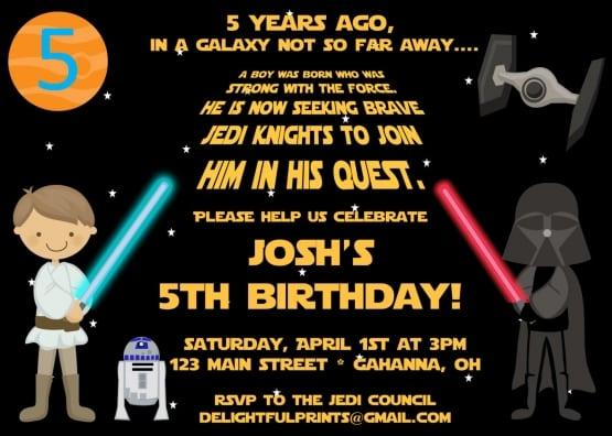 Starwars Birthday Invities