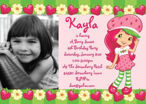 Strawberry Shortcake Birthday Invitation Templates