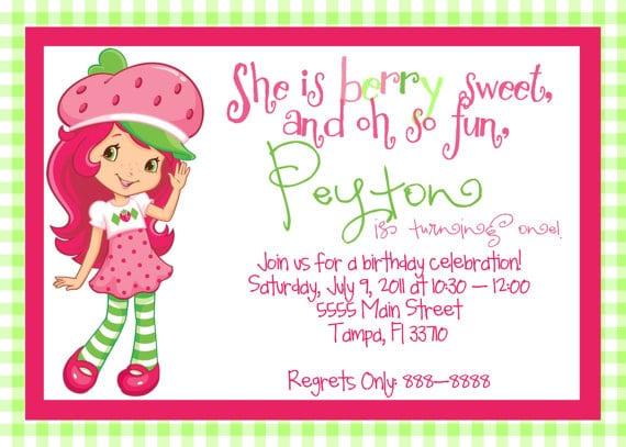 Strawberry Shortcake Birthday Invitations Free Printables