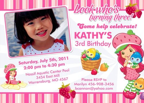 Strawberry Shortcake Template Printable Invitations Free Download