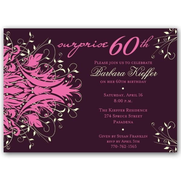 Surprise 60th Birthday Invitations Wording