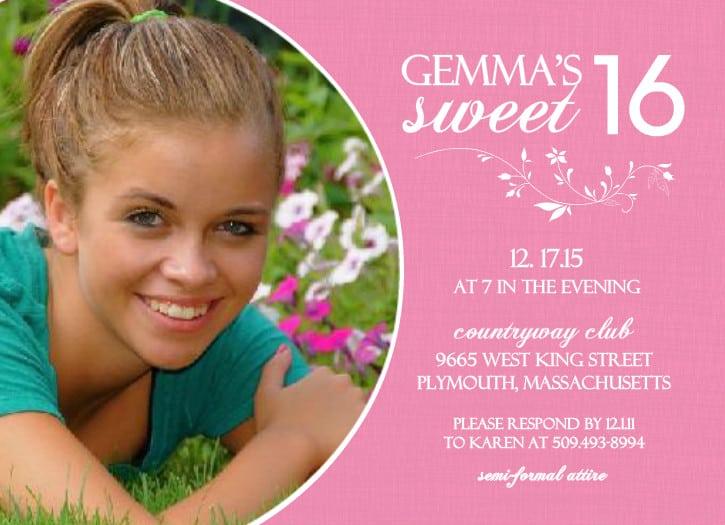 Sweet 16 Birthday Invitation Cards