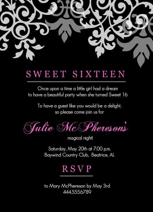 Sweet 16 Birthday Invitations Downloads