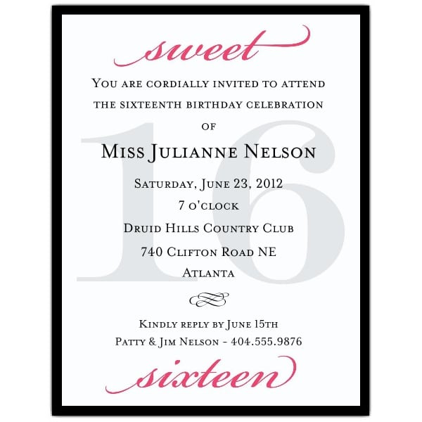 Sweet 16 Invitations Free Samples