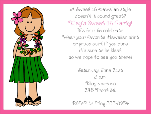 Sweet 16 Luau Invitation Ideas