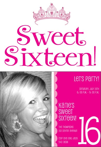 Sweet Sixteen Invitations Free