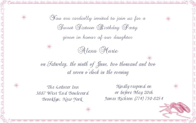 Sweet Sixteen Invitations Wording