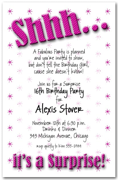 Sweet Sixteen Surprise Party Invitations