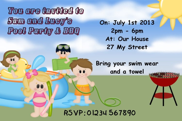Swimming Pool Party Invitations Uk