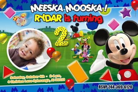 Tagbirthday Invitation Mickey Mouse